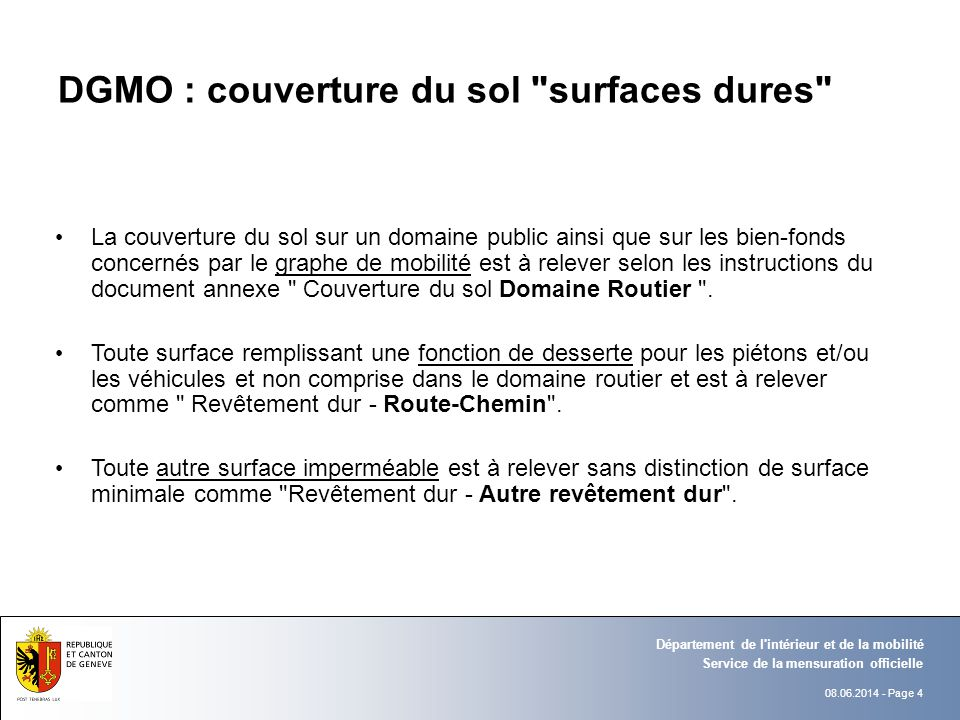 DGMO : couverture du sol surfaces dures