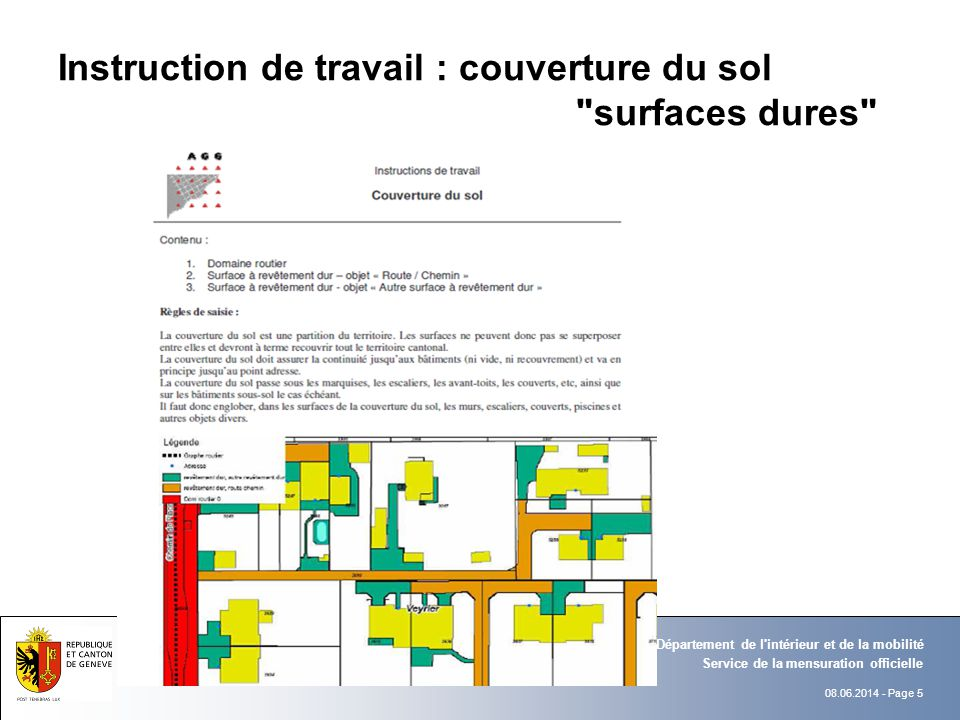 Instruction de travail : couverture du sol surfaces dures
