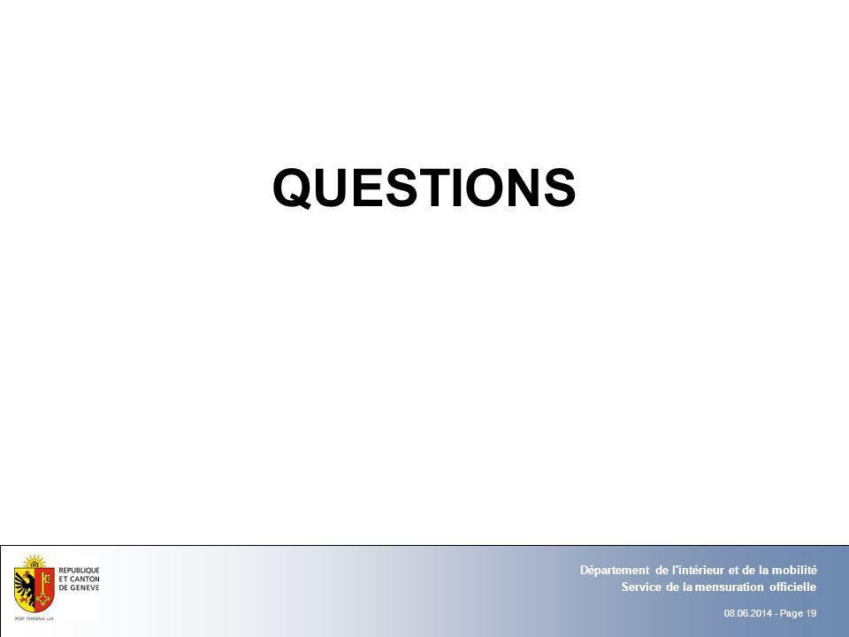 QUESTIONS Département de l intérieur et de la mobilité