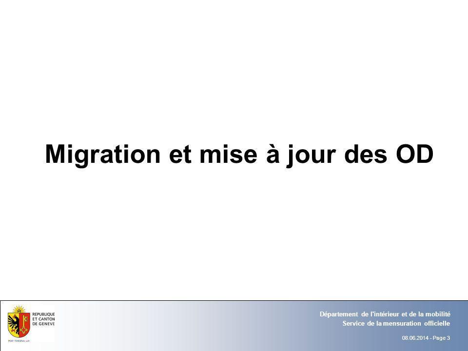 Migration et mise à jour des OD