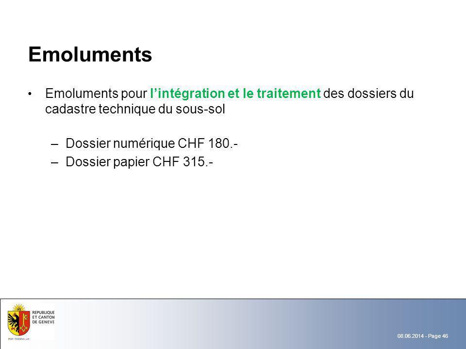 Emoluments Emoluments pour l'intégration et le traitement des dossiers du cadastre technique du sous-sol.