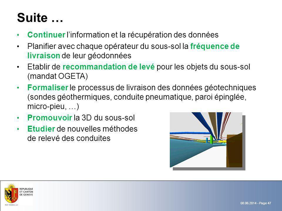 Suite … Continuer l'information et la récupération des données