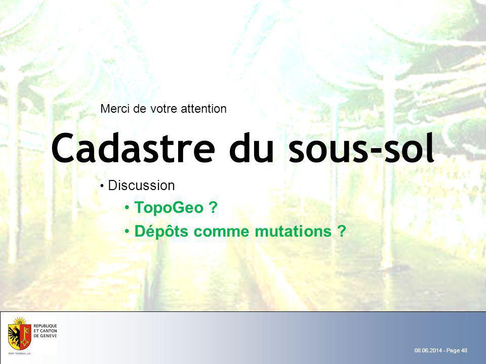 Cadastre du sous-sol TopoGeo Dépôts comme mutations Discussion