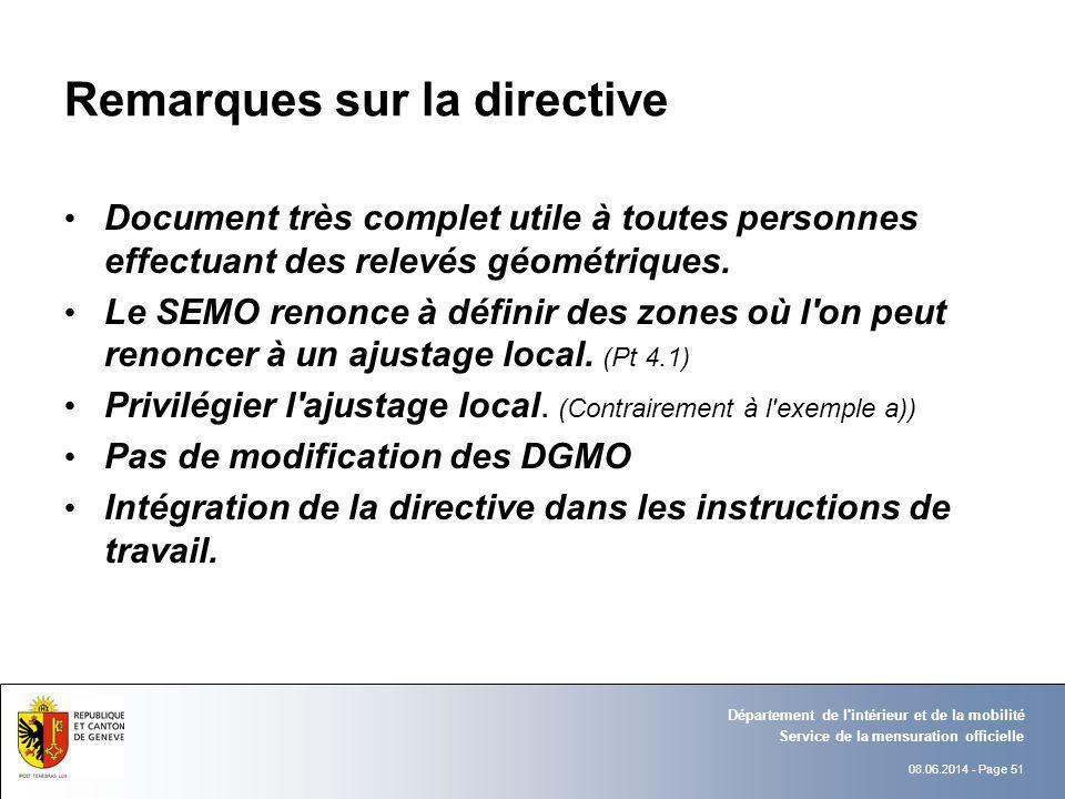 Remarques sur la directive