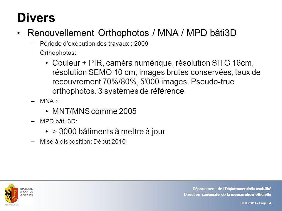 Divers Renouvellement Orthophotos / MNA / MPD bâti3D