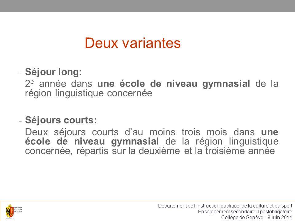 Deux variantes Séjour long: