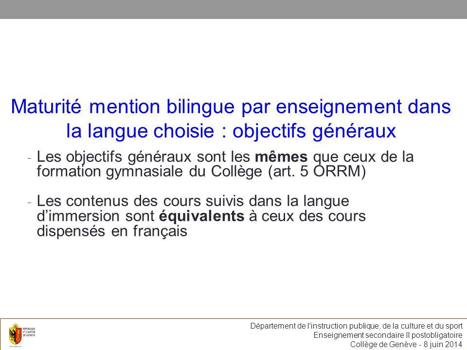Maturité mention bilingue par enseignement dans la langue choisie : objectifs généraux