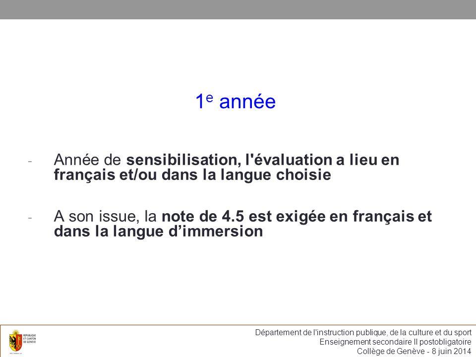 1e année Année de sensibilisation, l évaluation a lieu en français et/ou dans la langue choisie.