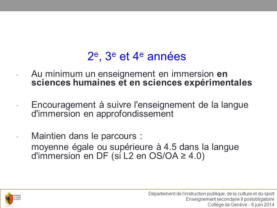 2e, 3e et 4e années Au minimum un enseignement en immersion en sciences humaines et en sciences expérimentales.