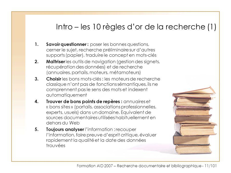 Intro – les 10 règles d'or de la recherche (1)