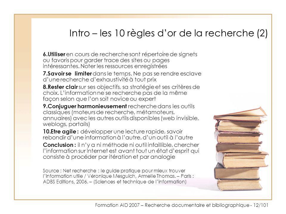 Intro – les 10 règles d'or de la recherche (2)