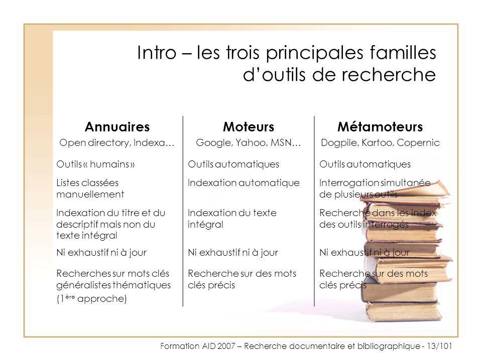 Intro – les trois principales familles d'outils de recherche