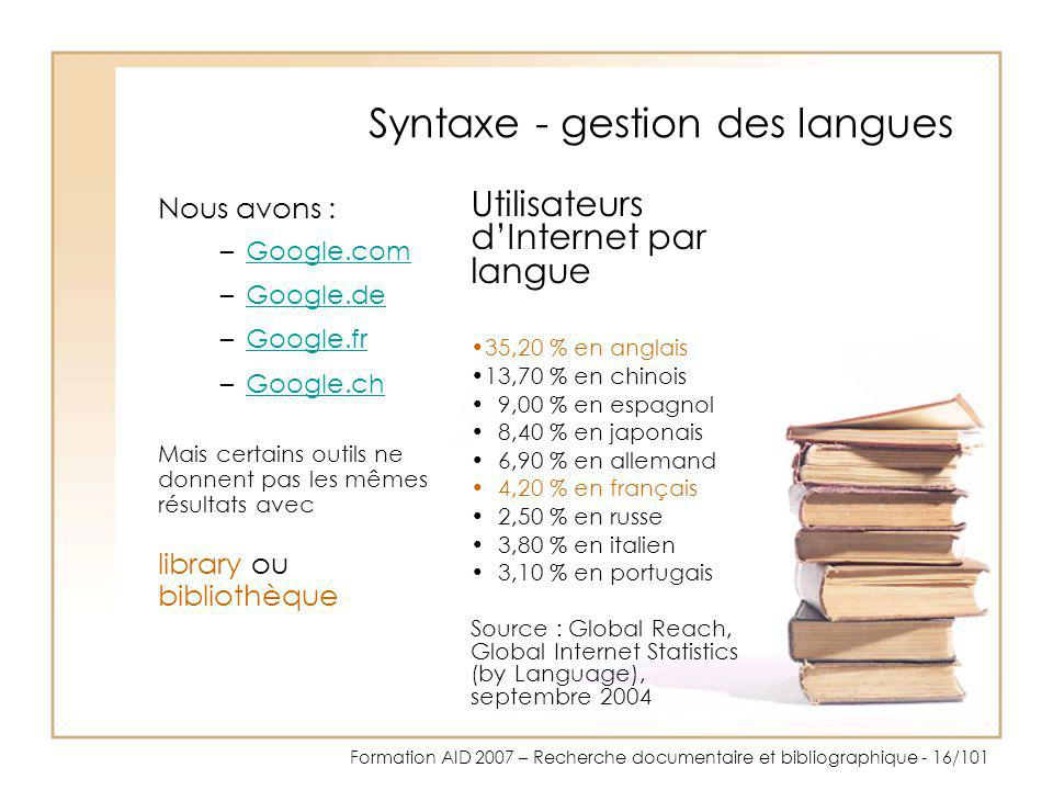 Syntaxe - gestion des langues