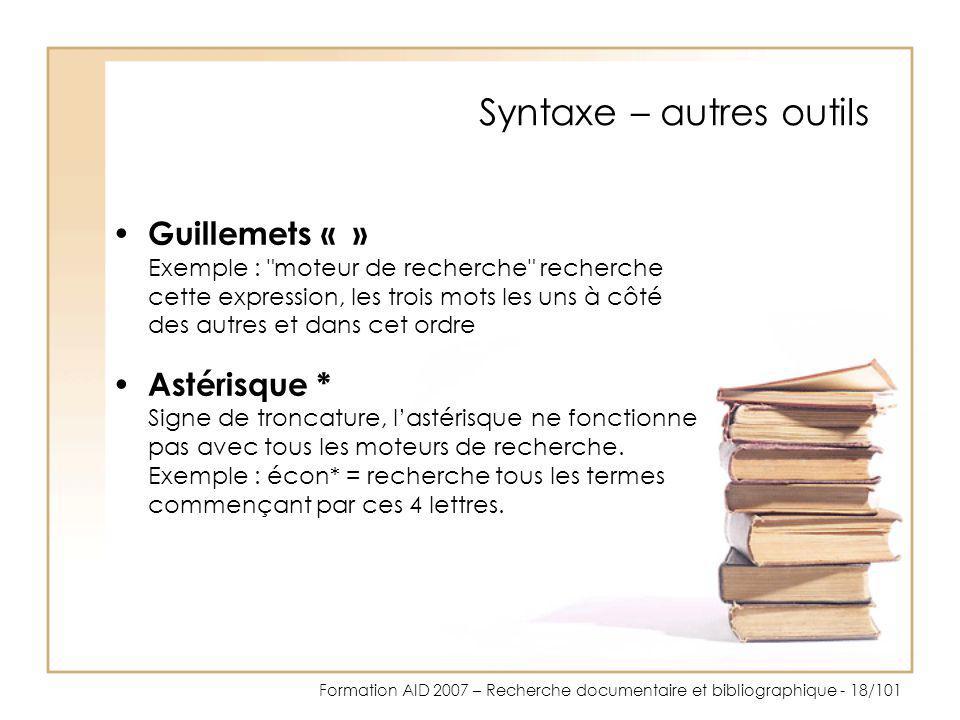 Syntaxe – autres outils