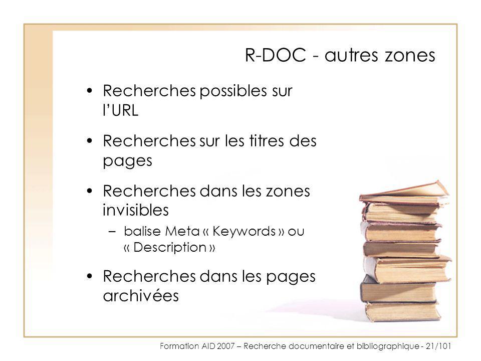 R-DOC - autres zones Recherches possibles sur l'URL
