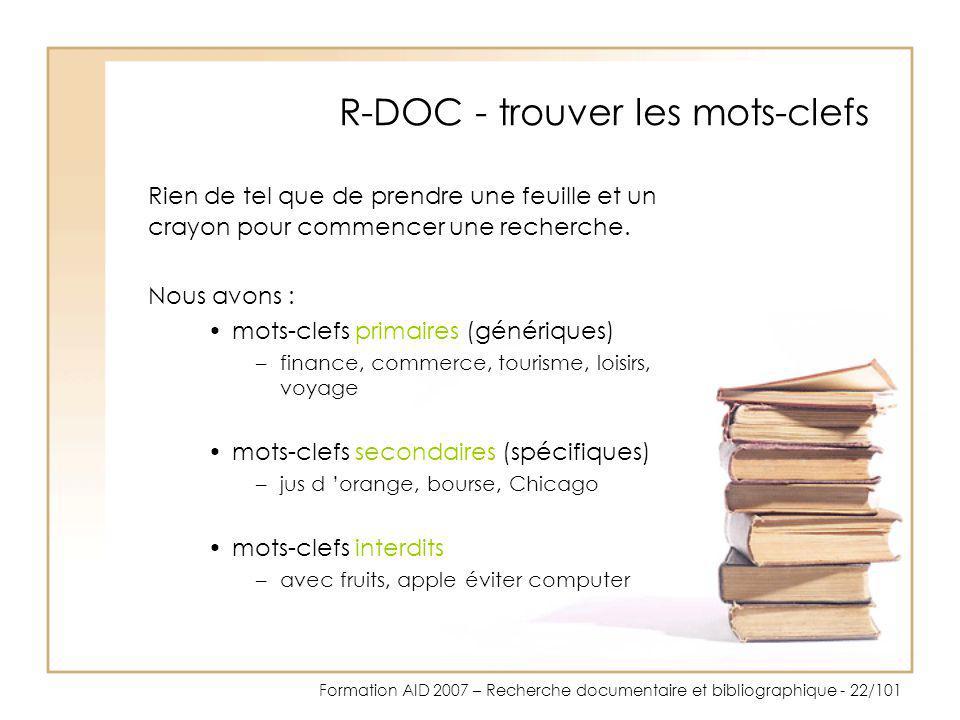 R-DOC - trouver les mots-clefs