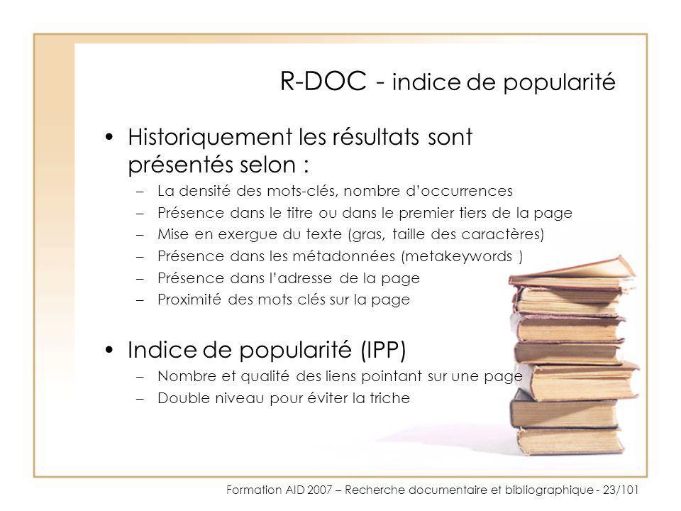R-DOC - indice de popularité