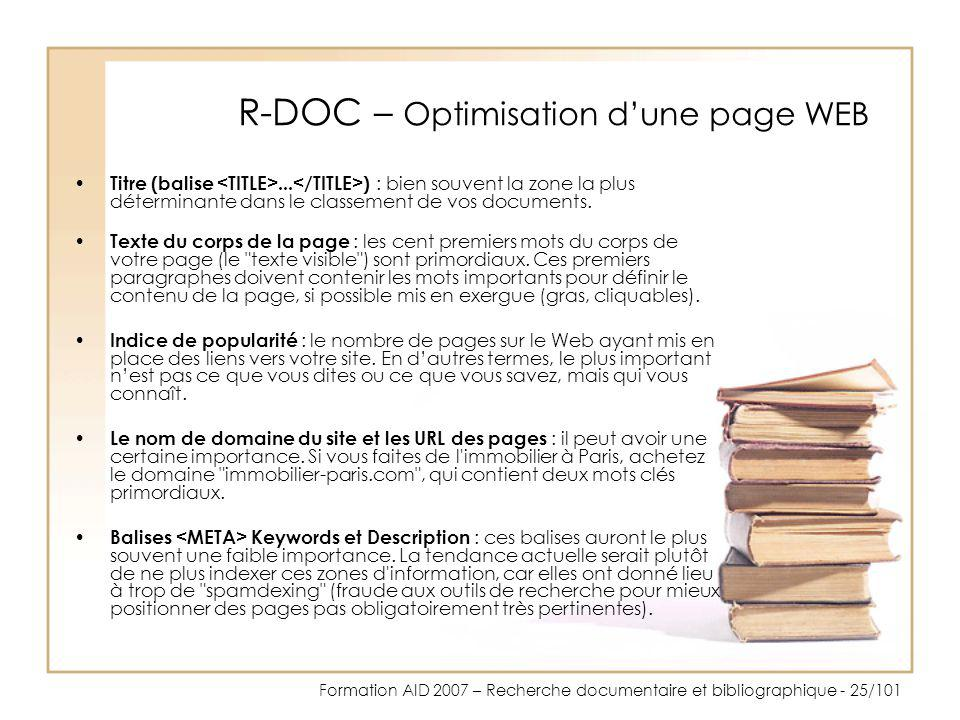 R-DOC – Optimisation d'une page WEB