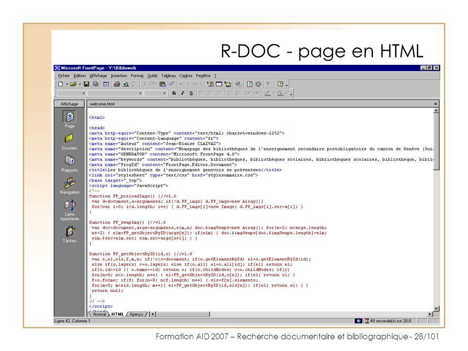 R-DOC - page en HTML