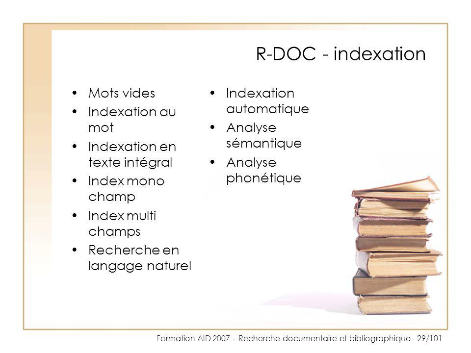 R-DOC - indexation Mots vides Indexation au mot