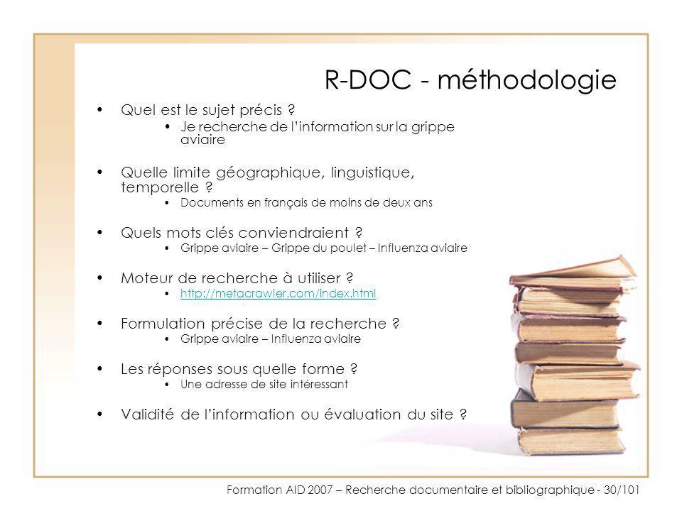 R-DOC - méthodologie Quel est le sujet précis