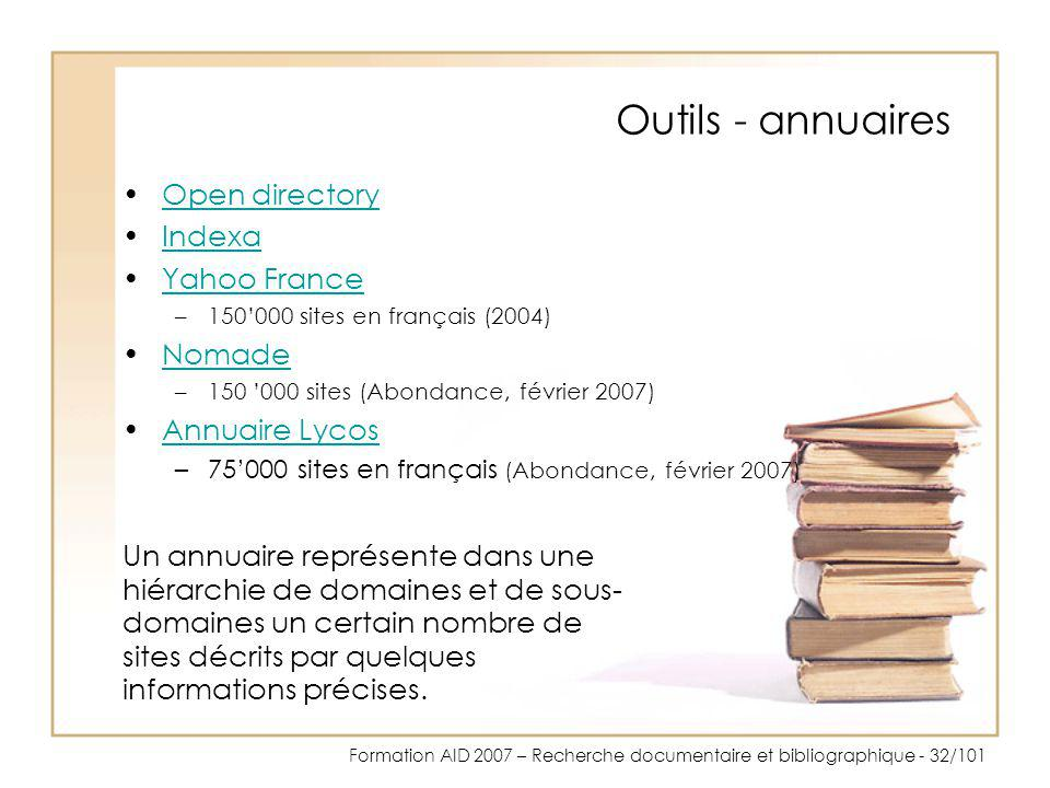 Outils - annuaires Open directory Indexa Yahoo France Nomade