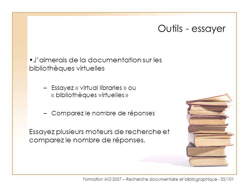Outils - essayer J'aimerais de la documentation sur les bibliothèques virtuelles. Essayez « virtual libraries » ou « bibliothèques virtuelles »