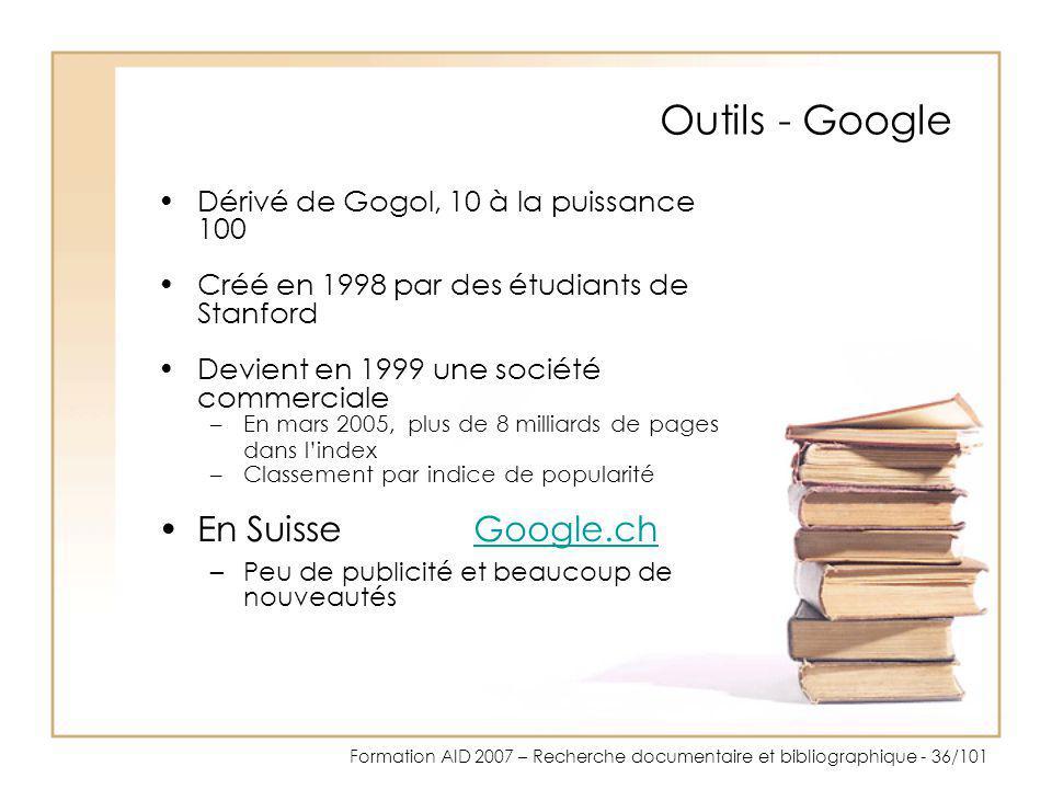 Outils - Google En Suisse Google.ch