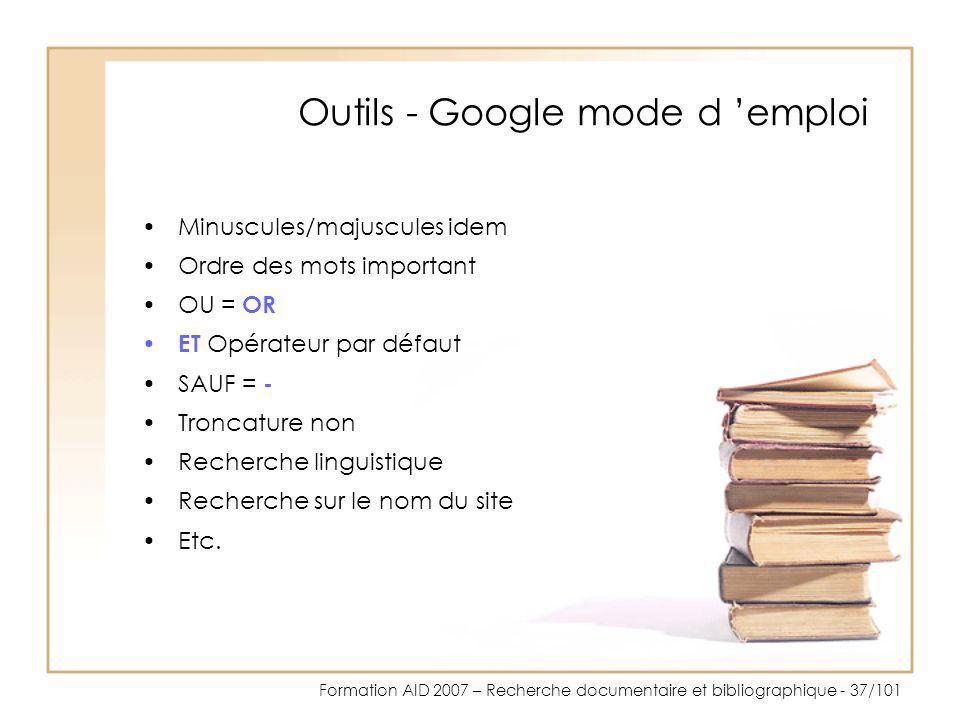Outils - Google mode d 'emploi