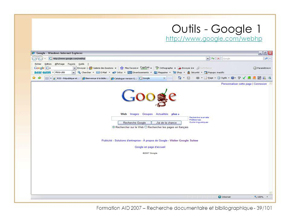 Outils - Google 1 http://www.google.com/webhp