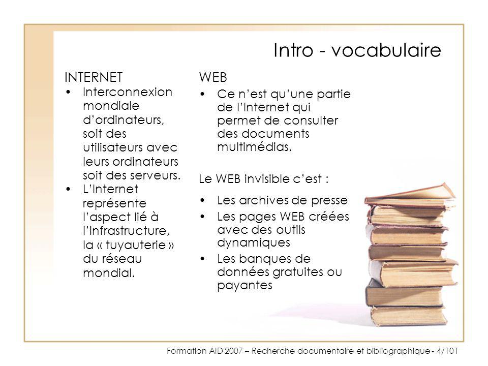 Intro - vocabulaire INTERNET WEB