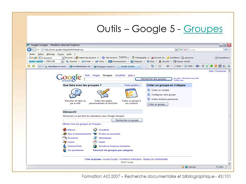 Outils – Google 5 - Groupes