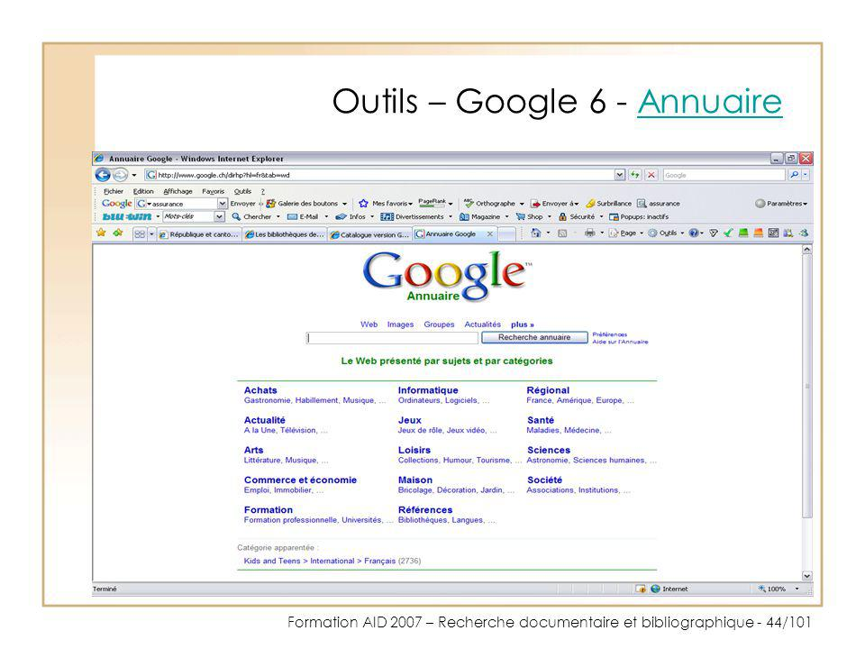 Outils – Google 6 - Annuaire