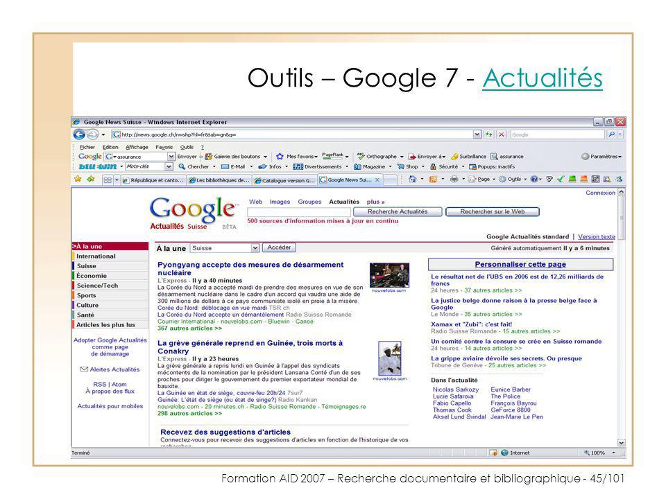 Outils – Google 7 - Actualités