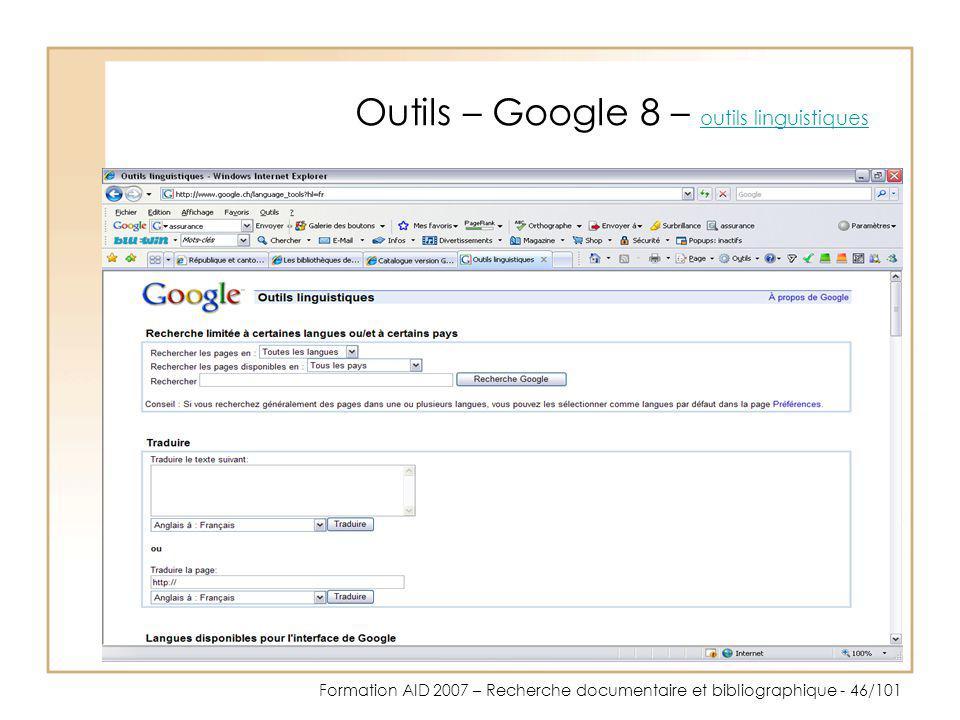Outils – Google 8 – outils linguistiques