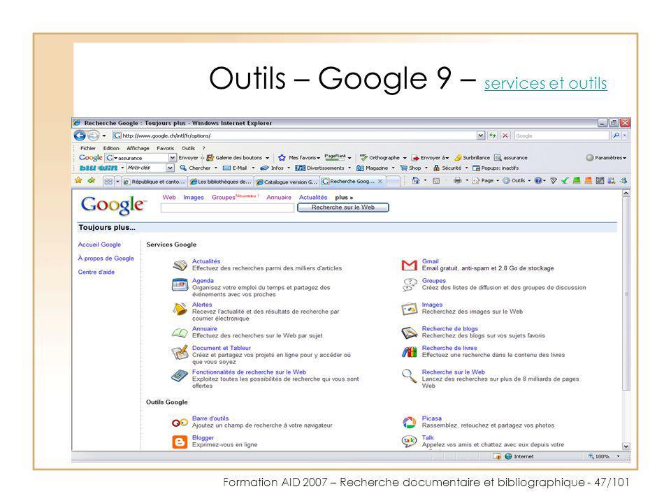 Outils – Google 9 – services et outils