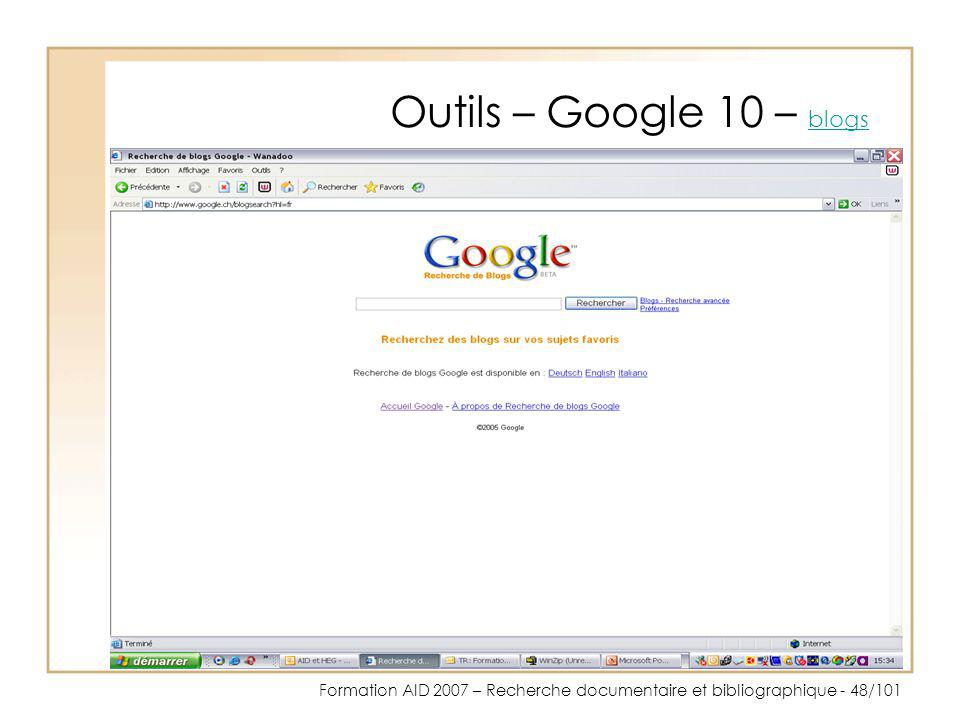 Outils – Google 10 – blogs