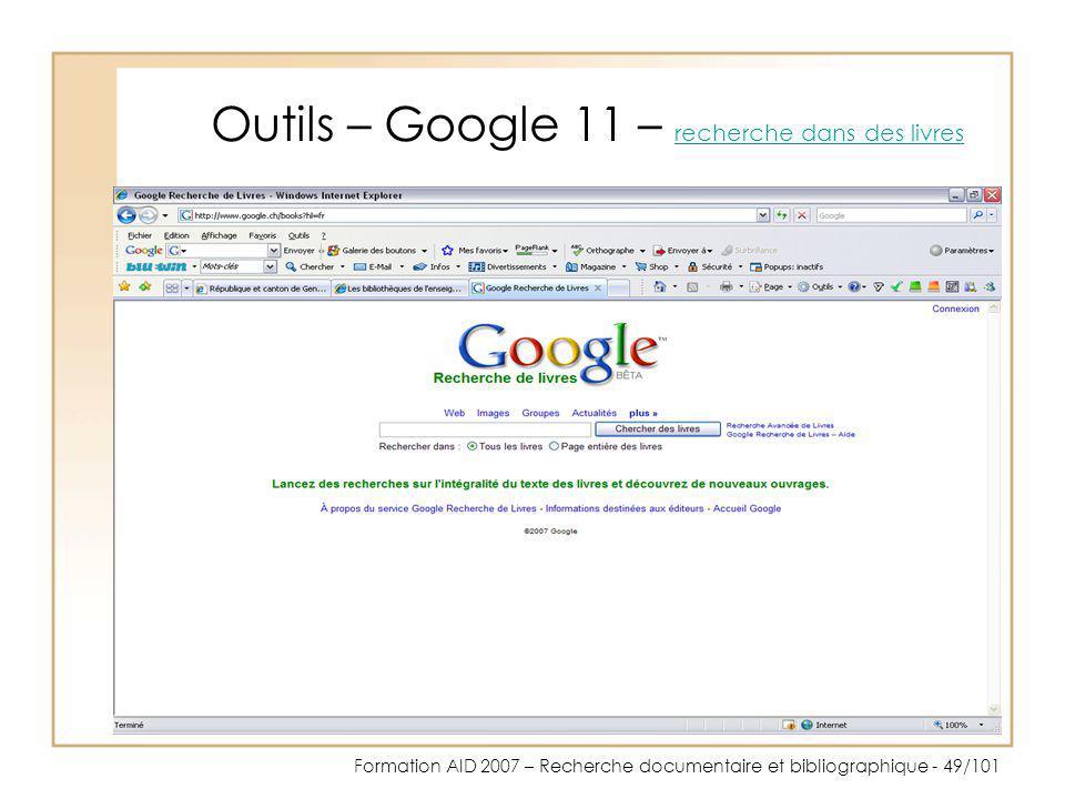 Outils – Google 11 – recherche dans des livres