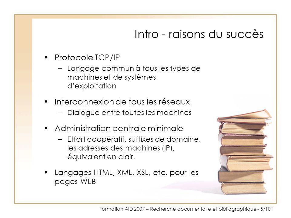 Intro - raisons du succès