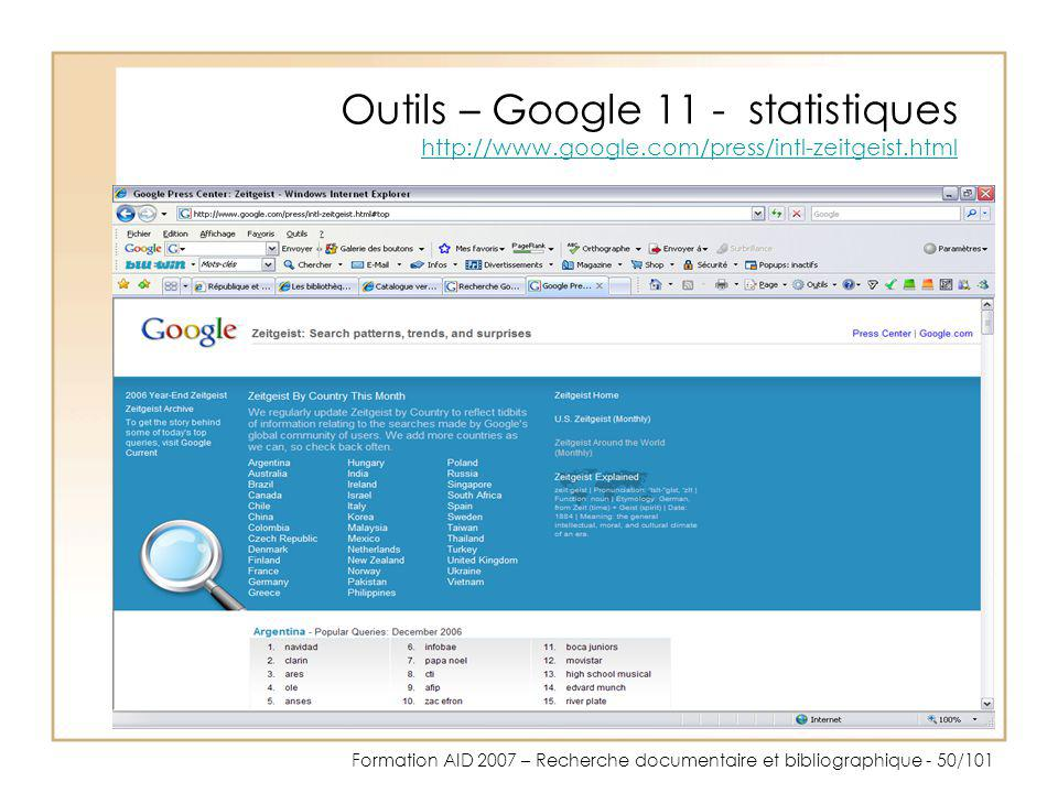 Outils – Google 11 - statistiques http://www. google