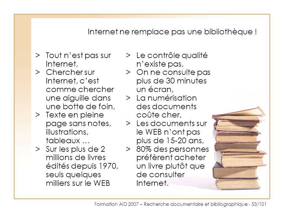 Internet ne remplace pas une bibliothèque !