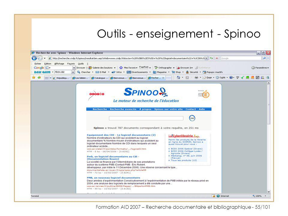 Outils - enseignement - Spinoo
