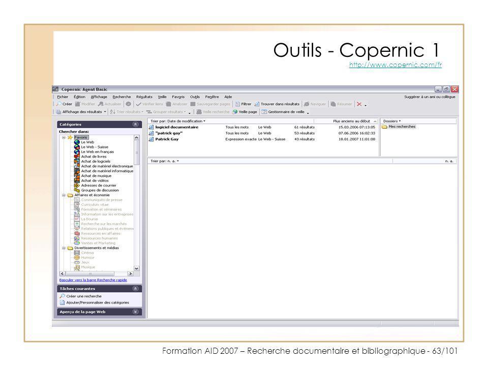 Outils - Copernic 1 http://www.copernic.com/fr