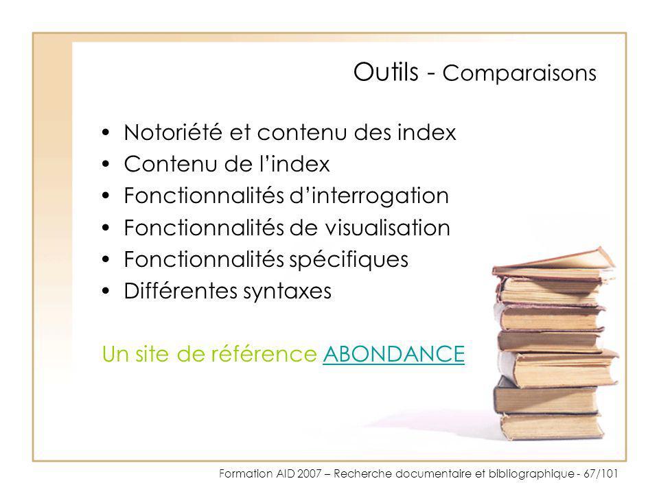 Outils - Comparaisons Notoriété et contenu des index