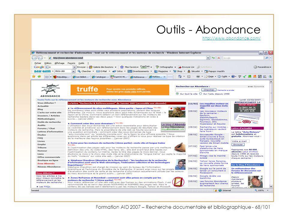 Outils - Abondance http://www.abondance.com/