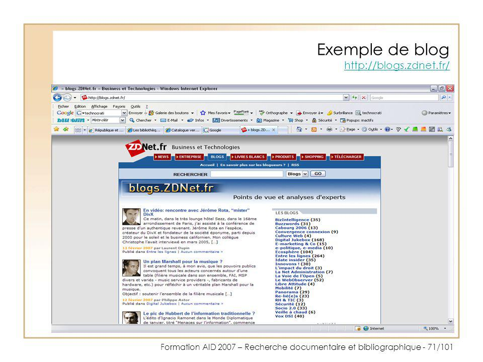 Exemple de blog http://blogs.zdnet.fr/