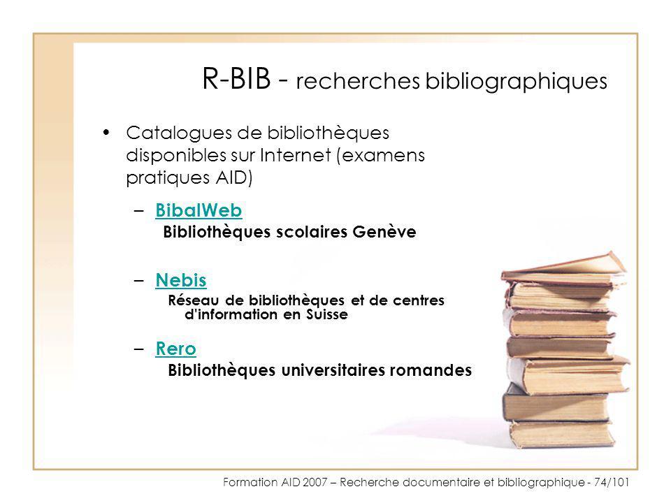R-BIB - recherches bibliographiques