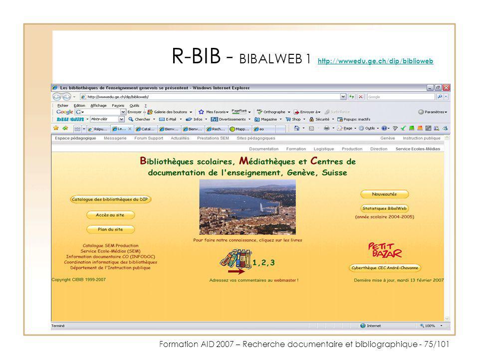 R-BIB - BIBALWEB 1 http://wwwedu.ge.ch/dip/biblioweb