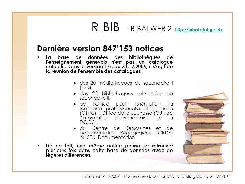 R-BIB - BIBALWEB 2 http://bibal.etat.ge.ch