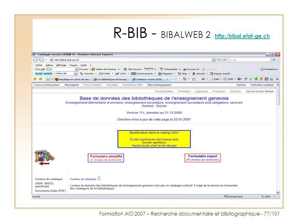R-BIB - BIBALWEB 2 http:/bibal.etat-ge.ch